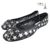 【巴黎站二手名牌專賣店】*現貨*JIMMY CHOO 真品*簍空黑底白星星平底娃娃鞋(36.5)