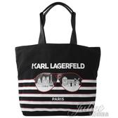 茱麗葉精品【全新現貨】 KARL LAGERFELD 卡爾 眼鏡條紋造型折疊大購物包.黑