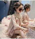 美妞童女童洋氣連身裙兒童中大童蕾絲公主裙子女孩