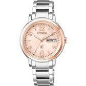 亞洲限定款 CITIZEN xC 光動能城市女錶-粉橘x玫瑰金圈/32mm EW2424-50W