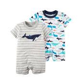 美國Carter's卡特童裝 男寶寶 短袖連身兔裝 灰鯨魚【CA121I230】