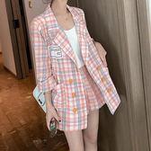 西裝外套 風衣外套  外套女夏氣質格子西裝韓版英倫風上衣網紅薄款短褲時尚套裝兩件套