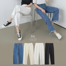 抽鬚褲管後鬆緊斜紋牛仔寬褲S-XL號-B...