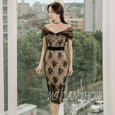 ✎﹏₯㎕ 米蘭shoe  蕾絲連衣裙夏裝新款裝性感一字肩露背修身中長款包臀禮服裙