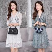 VK精品服飾 韓國名媛氣質淑女V領流蘇高腰七分袖鉤花鏤空蕾絲長袖洋裝