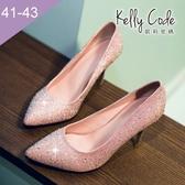 大尺碼女鞋-凱莉密碼-浪漫婚禮婚紗水鑽新娘鞋婚宴鞋高跟鞋8cm(41-43)【AB653-1】粉色