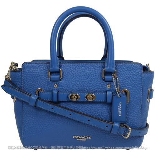 茱麗葉精品【現貨出清】COACH 37635 SWAGGER MINI 牛皮旋釦飾條兩用包.藍