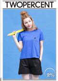 【2%】左胸前口袋英文字母T恤-藍