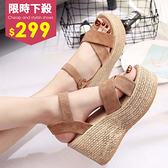 厚底涼鞋-韓系厚底鬆糕交叉羅馬絨面綁帶坡跟魚口涼鞋 鬆糕鞋 羅馬鞋【AN SHOP】