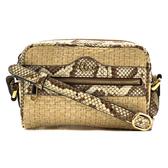 【台中米蘭站】全新品 GUCCI Ophidia系列 蛇皮飾邊編織造型拉鍊斜背包(574493-米色)