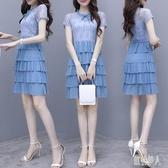 2020夏季新款女氣質顯瘦小清新裙子短袖洋裝中長款雪紡連身裙潮 yu13030『紅袖伊人』