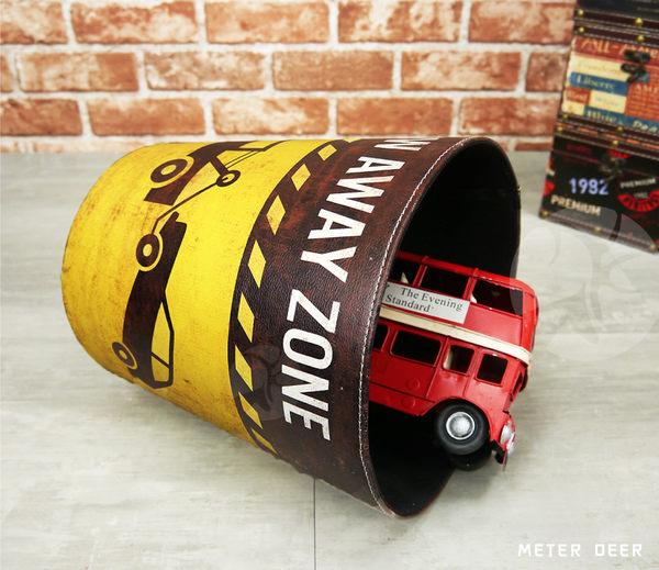 收納桶垃圾桶 皮革製廢紙簍 復古流行賽車跑車拖車款美式英倫風 空間擺飾防潑水置物籃-米鹿家居