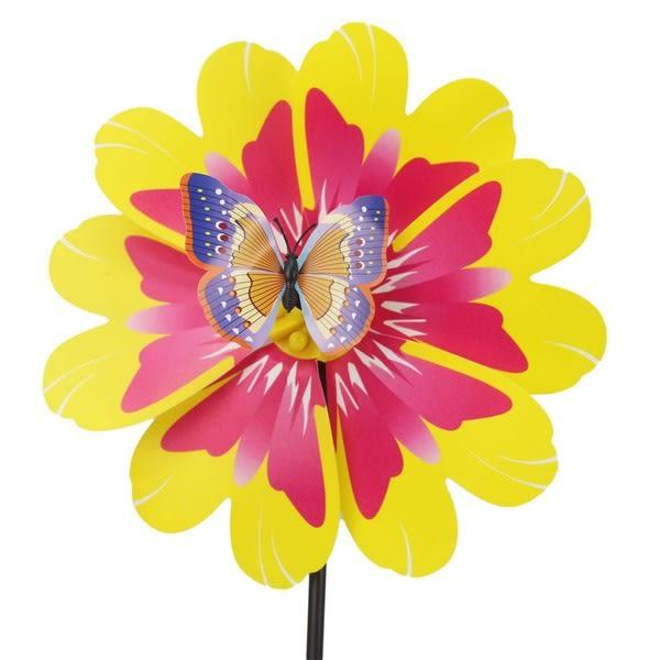 花造型立體風車 + 跳動昆蟲 (中) 直徑25cm/一支入{促40} 膠面彩色風車~5363~