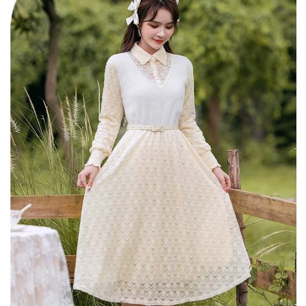 白色水貂絨拼接蕾絲洋裝(附腰帶)[99268-QF]美之札