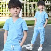 男童夏棉麻短袖兒童2018新款中大童男孩兩件套韓版 SG3938【潘小丫女鞋】