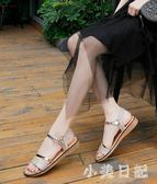 金色涼鞋女平底鞋仙女風低跟一字帶平跟厚底夏季鞋子2019新款度假 aj11879『小美日記』