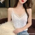 白色吊帶背心女設計感小眾外穿法式蕾絲性感西服西裝內搭打底上衣 美眉新品