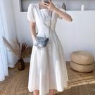 方領洋裝 肌理感白色連身裙女夏法式氣質收腰方領過膝長裙泡泡袖初戀小白裙 寶貝 免運