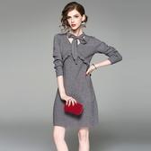 洋裝-長袖V領純色針織荷葉邊女連身裙2色73of136【巴黎精品】