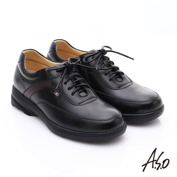 A.S.O 超能耐 綿羊皮奈米氣墊休閒皮鞋 黑