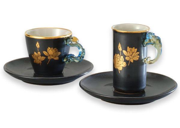 鹿港窯~ 陶藝琉璃耳咖啡杯【金邊天目荷花對杯】(二杯二盤)附精美包裝◆免運費送到家