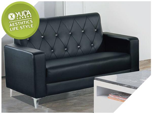 沙發【YUDA】標緻 黑色 皮面 水鑽 實木 雙人 皮沙發/沙發椅 J8F 176-2