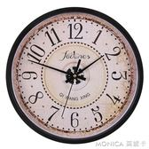 掛鐘客廳圓形復古歐式鐘錶電子時鐘靜音古典電子石英鐘掛錶 美斯特精品 YXS