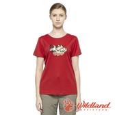 【wildland 荒野】女 椰炭紗防蚊抗菌抗UV上衣『紅色』0A81627 戶外 休閒 運動 露營 登山 騎車