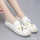 白色繡花漁夫鞋女夏季一腳蹬媽媽女鞋2020新款平底亞麻老北京布鞋 依凡卡時尚