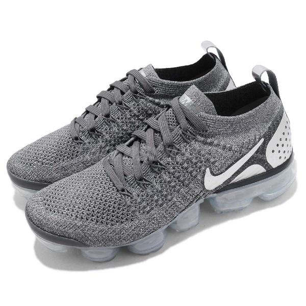 【六折特賣】Nike Air Wmns VaporMax Flyknit 2 灰 銀 二代 飛線編織 大氣墊 運動鞋 女鞋【PUMP306】 942843-013