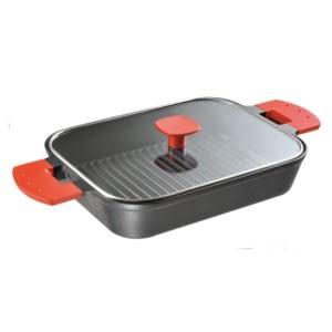日本《UCHICOOK》水蒸氣式健康燒烤蒸煮鍋玻璃蓋款(紅)
