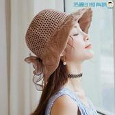 秋冬韓版綢緞大蝴蝶結棉麻遮陽沙灘帽洛麗的雜貨鋪