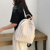 後背包 超火的雙肩包女2019新款韓版時尚簡約百搭軟皮質大容量鉚釘背包 3色