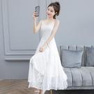 2021年夏裝新款氣質蕾絲吊帶白色連衣裙女裝長款荷葉邊大擺長裙子 依凡卡時尚