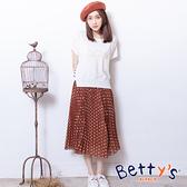 betty's貝蒂思 點點百摺雪紡長裙(咖啡色)