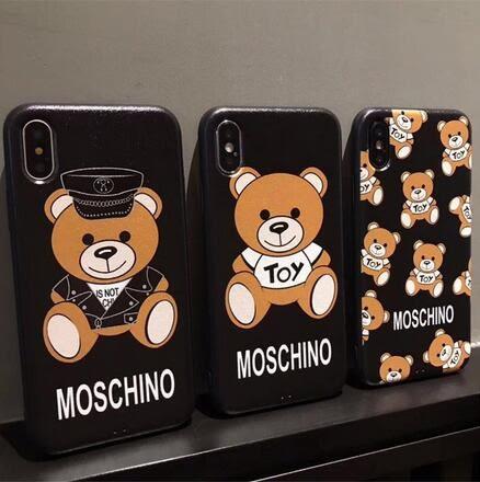 【SZ33】i7 plus 手機殼 黑蠶絲玩具熊iPhone x手機殼 iphone 6/7/8 plus公仔熊iPhoneX手機殼