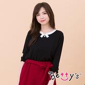 betty's貝蒂思 都會知性配色針織衫(黑色)