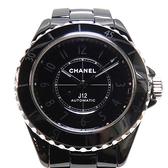 CHANEL 香奈兒 黑色陶瓷自動上鍊機械錶 J12 38mm Phantom H6185【二手名牌BRAND OFF】