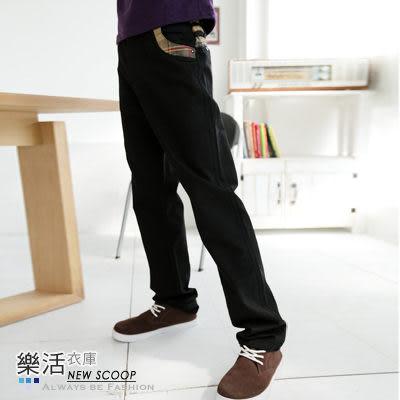 雅痞拼接格紋口袋休閒長褲(共二色) 樂活衣庫【P6106】