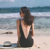 連身泳衣 黑色簡約連身泳衣女露背性感遮肚三角V領溫泉沙灘度假泳裝 3色