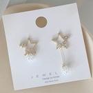 耳飾.法式優雅珍珠五角星星不對稱長款耳環.白鳥麗子