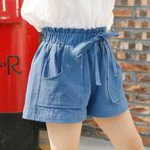 女童夏裝短褲外穿純棉白色中大童休閒百搭韓版寬鬆兒童熱褲子薄款梗豆物語