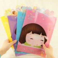 韓版妞子卡通透明A4資料袋 文件袋 文件夾-艾發現