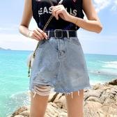 夏季韓版大碼胖Mm牛仔短褲女高腰寬鬆Chic破洞A字闊腿熱褲裙