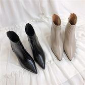 CHIC韓國短靴女秋冬尖頭真皮粗跟靴潮流女鞋后拉鏈高跟復古馬丁靴 艾尚旗艦店