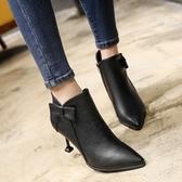 2020秋冬新款高跟細跟尖頭韓版蝴蝶結女鞋短靴新馬丁靴裸靴女靴子 童趣
