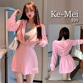 克妹Ke-Mei【AT70243】PINK少女甜美初秋厚款單槓撞色連帽外套+A字褲裙套裝