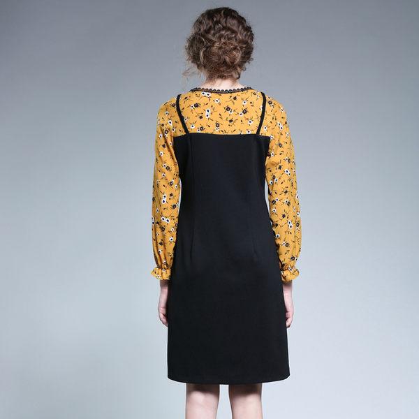 中大尺碼~花邊領口可愛貓咪設計假兩件式長袖洋裝(L~5XL)