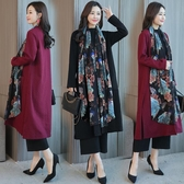 冬裝新款韓版大尺碼女裝中長款雪紡拼接開衫中長款針織秋冬外套