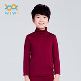 【WIWI】MIT溫灸刷毛高領發熱衣(醇酒紅 童70-150)